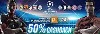 Betmotion cashback 50% Liga dos Campeões