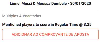 Apostas em Lionel Messi e Moussa Dembele odds altas