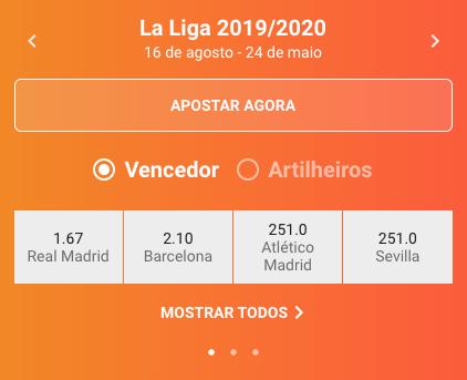 LeoVegas La Liga Vencedor odds