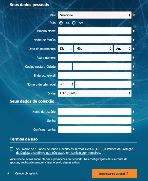 betworld cadastro registro formulario