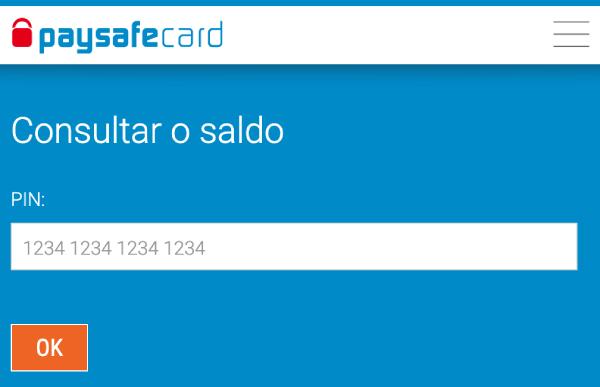 PaysafeCard consulta de saldo