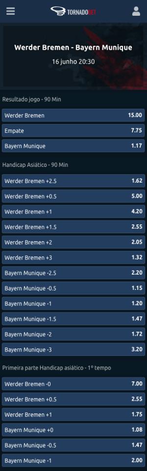 Tornadobet apostas Bayer de Munique Werder Bremen handicap