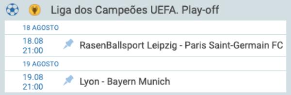 1xBet Champions League semifinal 18/08 e 19/08