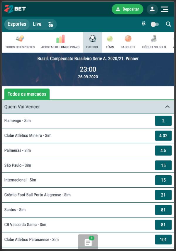 22Bet Campeonato Brasileiro Brasileirão Odds