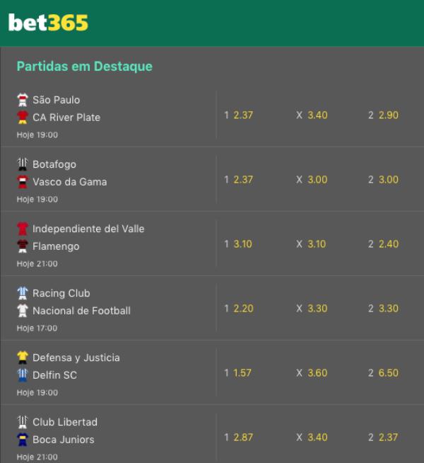 Bet365 Jogos Libertadores 2020 Futebol Destaques