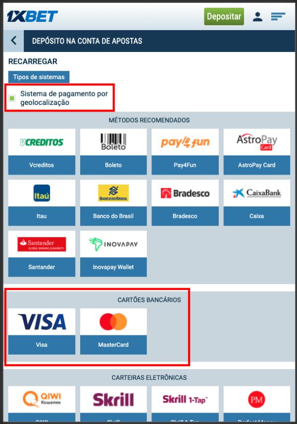 1xBet Metodos de Pagamento Deposito com Cartão de Credito Visa e Mastercard
