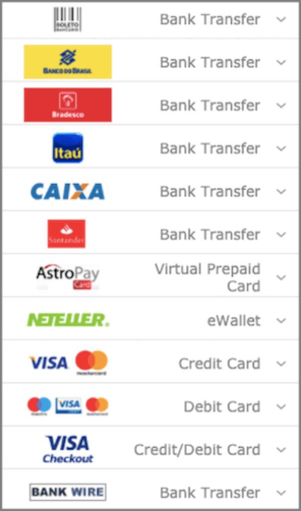 Bet365 métodos de pagamento cartao de credito e debito
