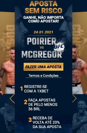 Aposta sem Risco 1xBet para McGregor x Poirier UFC